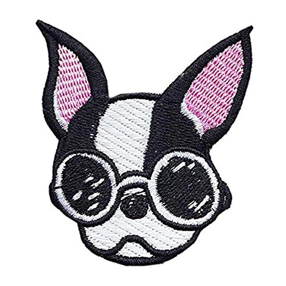 無法者衝動気配りのあるDOG ワッペン 刺繍ワッペン 縦7cm×横5.7cm 犬 イヌ dog 動物 アップリケ 手芸 かわいい WAPPEN