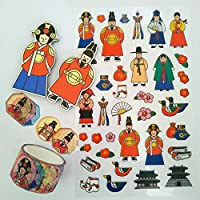 韓国の文化装飾ステッカー+マスキングテープ+キングとクイーンマグネットセット kingandqueenset