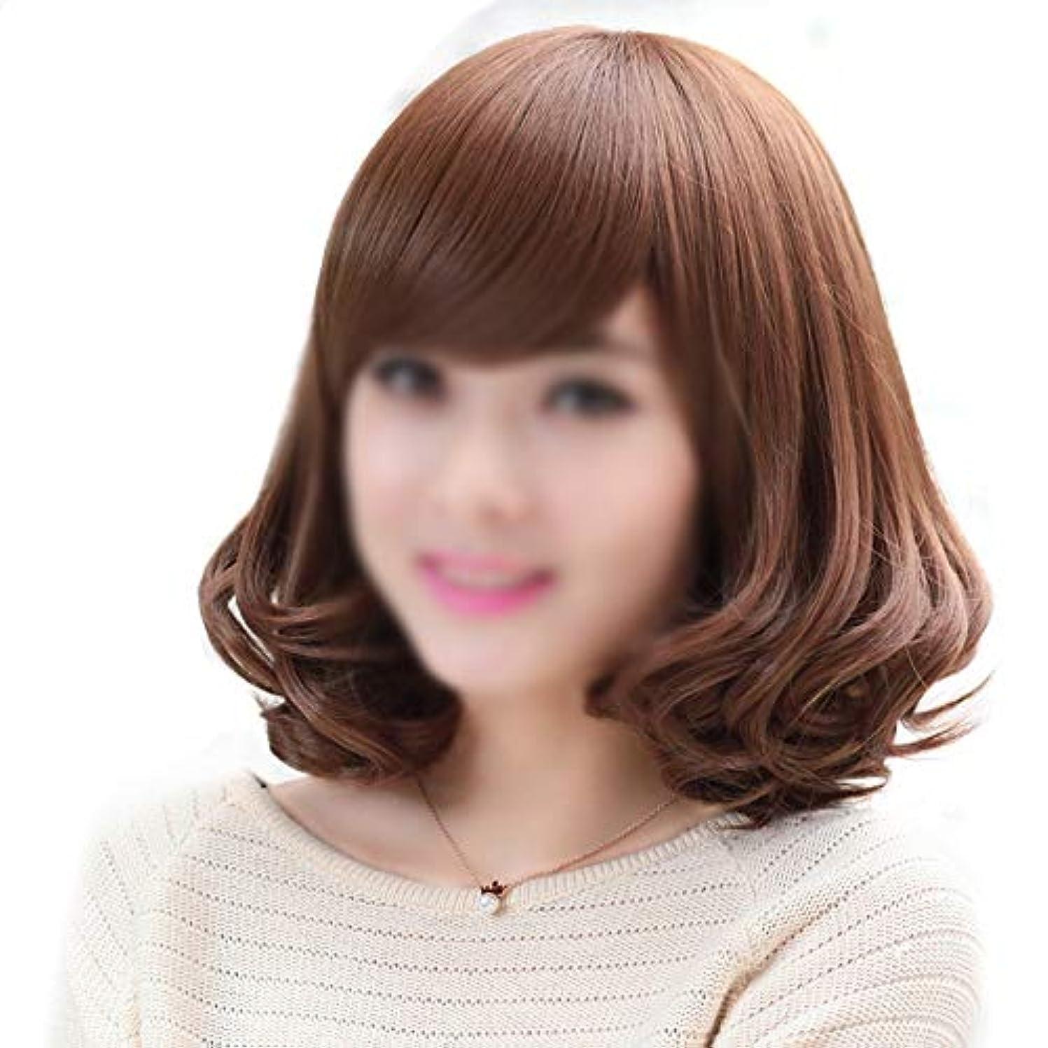 曇ったクラック罪悪感WASAIO ウィッグキャップと女性の短い巻き毛のかつら、30 cm (色 : ブラウン)