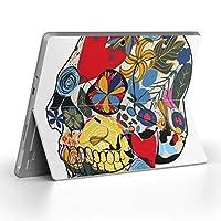 Surface go 専用スキンシール サーフェス go ノートブック ノートパソコン カバー ケース フィルム ステッカー アクセサリー 保護 ユニーク 花 フラワー ドクロ 骸骨 007618