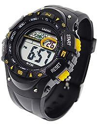 子供用腕時計 ボーイズ 多機能 デジタル表示 スポーツ アウトドア 時計 LEDライト付き ウォッチ キッズ 防水 男の子女の子 誕生日プレゼント イエロー