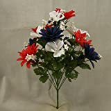 """Best GENERIC Mades - 1PC、20""""高人工レッド、ホワイトブルーミックスAmericana Daisy Bush madeのシルク& Has 14Stems Perfect Review"""