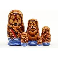 Alaskan Brown Bear Russian Nesting Doll 5pc./6 by Golden Cockerel [並行輸入品]