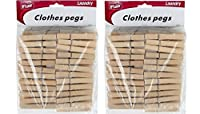 Home-X Wooden Clothespins (2 Sets of 50,100 Total) [並行輸入品]