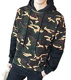 kimurea select (キムレアセレクト) メンズファッション カモフラ カモフラージュ 柄 フード付き プルオーバー パーカー 長袖 上着 迷彩服 アウター 大きいサイズ (L, ブラック)