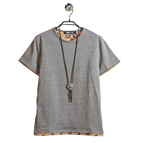 (Make 2 Be) クルーネック レイヤード Tシャツ メンズ ノームコア 半袖 MF49 (15.Bota_Gray_4XL)