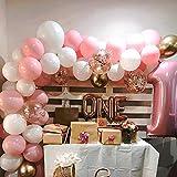 バルーンアーチガーランド 女の子の誕生日 ベビーシャワー 独身パーティー 目玉の背景の装飾 バルーンガーランドアーチキット ピンク 白 ゴールドゴールド 紙吹雪 風船115ピース