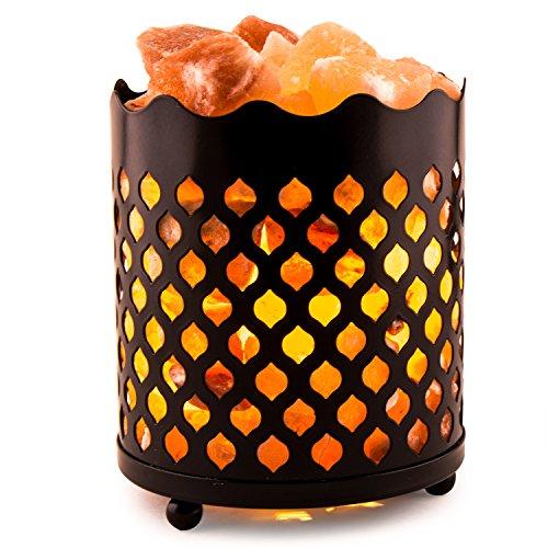 Crystal Decor Natural Himalayan塩ランプwith塩Chunks in円柱デザインメタルバスケット、調光機能付きコード???Choose yourバリエーション