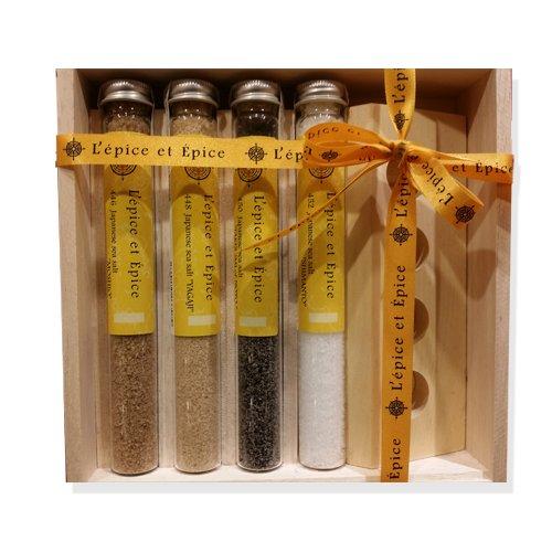 【お料理好きの方に!おしゃれなスパイス・塩のかわいい詰め合わせ】日本の塩4本セット