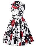 子供服 女の子 春 花柄 袖なし ラペルカラー レトロスタイル ベルト付き ワンピース ドレス 5# 120cm