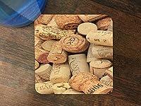 ワインとシャンパンCorks Pattern Backgroundシリコンドリンク飲み物コースター4パックby Moonlight印刷