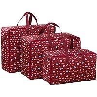 3PCSレッドストレージバッグポータブル折り畳み式オックスフォード布防水性防湿トラベルオーガナイザーキルト衣類仕上げ荷物収納袋3個/セット