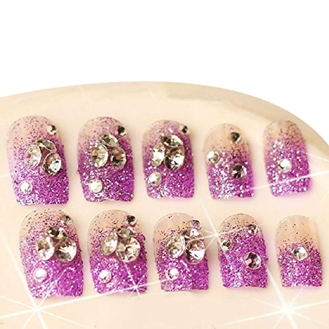 Frcolor ネイルシール ネイルステッカー 人気 星 パープル グリッターのダイヤモンド 分解可能 花嫁 24枚セット