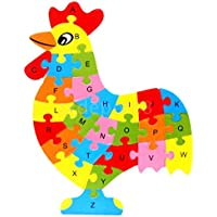 Rooster Shaped木製パズルアルファベット文字ブロックPreschool Kid Learing Toy