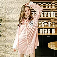 546dea4c04 Comfortable Summer Girl Nightdress Shirt-Style Cardigan Pajamas Female  Long-Sleeved Silk Silk Striped Home Service (Color   Pink