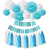 ハッピーバースデーバナーバナーバットニングキット、Wartoon ンハッピーバースデーハンティングパーティーデコレーションバナーフラッグ+12ガーランドティッシュペーパーポムポムスフラワーボール+15個誕生日パーティーデコレーションタッセル - ブルー
