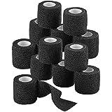"Self-Adherent Cohesive Bandage - 12 Pack Bulk   Black Self-Adhering Medical Wrap   2"" Wide x 5 Yards Athletic Sports Tape Swe"