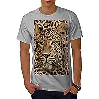 Wellcoda 獣 動物 ヒョウ 男性用 グレー 5XL Tシャツ