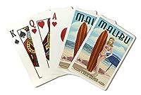 マリブサーファー、カリフォルニア–Pinup Girl ( Playingカードデッキ–52カードPokerサイズwithジョーカー)