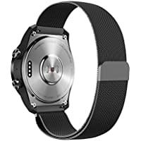Kartice Compatible Ticwatch Pro /fossil Q EXPLORIST バンド 22mm高級ミラネーゼループバンド ステンレス製ベルト Gear S3 Classic/Pebble time 2通用交換ベルト (2-ブラック)