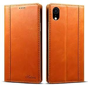iPhone XR ケース 手帳型 本革 良い触り心地 iphone xr カバー 財布型 マグネット式 横置き機能 カード収納 ストラップ穴 Eugun 6.1in アイフォンXR用 オレンジ