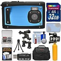 Coleman Venture HD c40wp衝撃&防水デジタルカメラ(ブルー) with 32GBカード+ケース+アンダーウォーターLEDビデオライト+ブイ+三脚キット