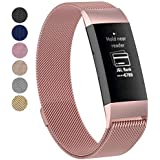 for Fitbit Charge 3 Band Strap, Luxury Metal Stainless Steel Magnetic Milanese