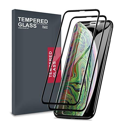 Meidu iPhone Xs Max ガラスフィルム 「2枚セット」炭素繊維 「破損していないエッジ」 極薄 高透過率 気泡ゼロ iPhone Xs Max フィルム - 6.5 インチ ブラック