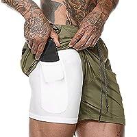 Paulcans ランニングスポーツショーツ速乾性内蔵ポケットライナーで通気性 [UVカット・吸汗速乾] ドライフィット フィットネス パンツ