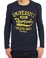 (トップイズム) TopIsm ロングTシャツ メンズ ロンT 長袖 tシャツ オールドカレッジ ロゴプリント クルーネック