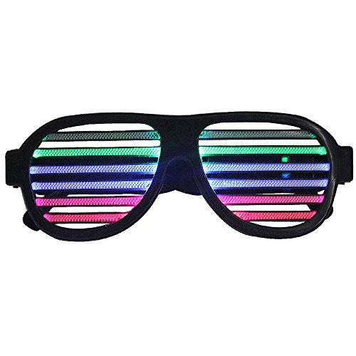 Sourcingbay 光る LED メガネ マルチカラー 音声感応 USB充電タイプ 盛り上げ グッズ カラオケやパーティやイベントに適用