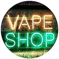 Vape Shop Indoor Display Dual LED看板 ネオンプレート サイン 標識 Green & Yellow 400 x 300 mm st6s43-i3018-gy