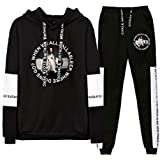 Flyself Unisex Billie Eilish 2 Pieces Plus Size Tracksuit Sets Long Sleeve Hoodie Pullover Sweater and Long Pants Set Jogging