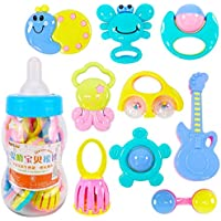 Gtia 12pcs Baby Rattles Teether Babies ToysシェイカーGrab and Spin Rattle Ball Shaker