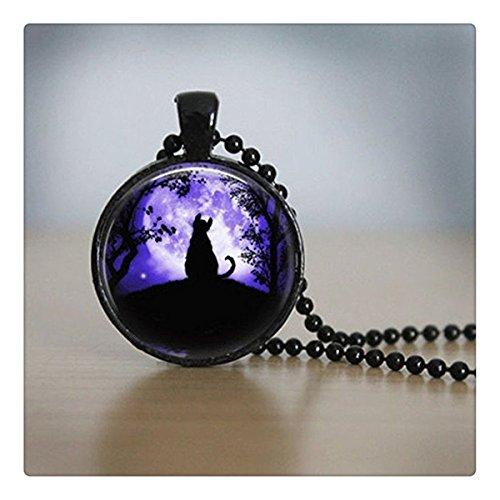 ファッション黒猫ロゴネックレスペンダントムーン写真手作り樹脂ビンテージネックレスの女性の宝石贈り物