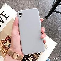 iPhone XR パーソナリティクリエイティブ男性と女性の保護カバーのためのシンプルなソリッドカラーTPU携帯電話ケース