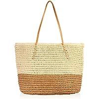 "RIAH FASHION Boho Rattan Crochet Straw Woven Basket Bali Handbag - Round Circle Crossbody/Shopper Beach Tote Bag Multicoloured Size: 15"" Length, 18"" Width, 5"" Depth"
