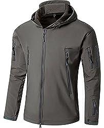 TACVASEN アウトドア タクティカル ソフト シェル ジャケット 保温や防水や防風など多機能のアノラック スキーと山登りの迷彩服 グレー M