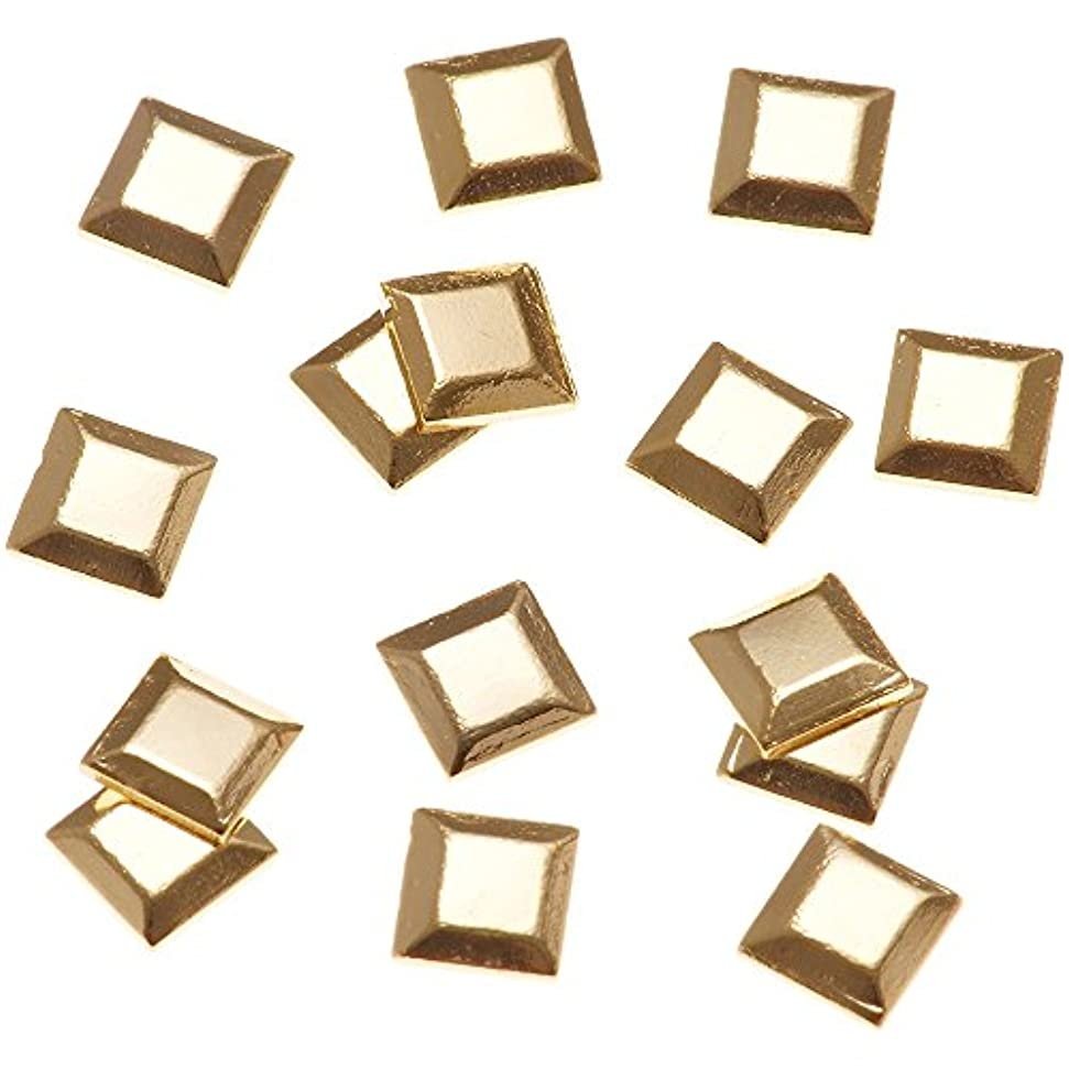 思い出す味平らにするリトルプリティー ネイルアートパーツ スタッズスクエア ゴールド 50個