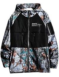 gawaga メンズ花ボンバージャケットヒップホップスリムフィットフードボンバージャケットコート