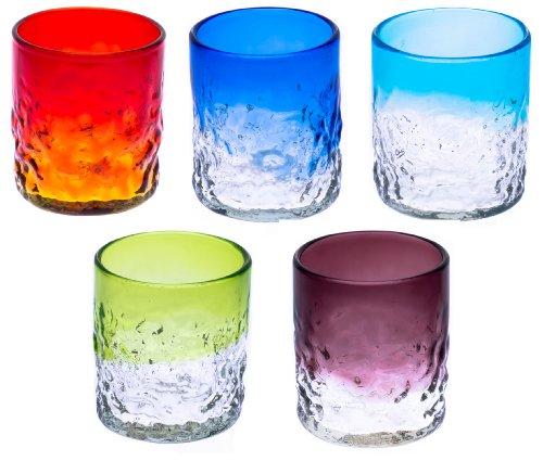 でこぼこグラス(S)5個セット(オレンジ・青・水・緑・紫)