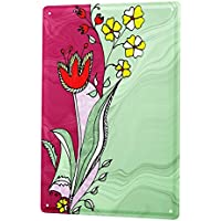 Tin Sign ブリキ看板 Plants Decoration Card design red tulip and yellow white flowers