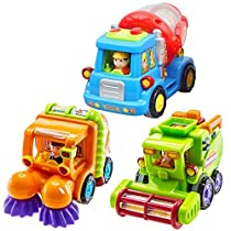Friction Car,(Set of 3) Push and Go Toys for Toddlers-Street Sweeper Truck, Cement Mixer Truck, Harvester Toy Truck with Automatic Rotating Functions