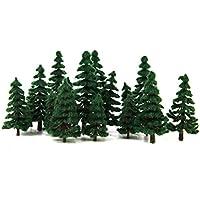 16本セット 4サイズ   樹木  木 モデルツリー 情景コレクション ザ ? 鉄道模型?ジオラマ?建築模型?電車模型に  6cm-12cm 濃い緑色葉