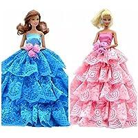 バービー人形の変身服/ポルカドットの着物/高貴なドールコスチューム/刺繍ドレス?ワンピース/人形のウエディングドレス、11.4インチ(ランダム)