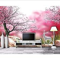 Wuyyii リビングルームのための壁紙Hd花海桜桜白鹿テレビ壁の背景3Dの壁紙Mural-400X280Cm