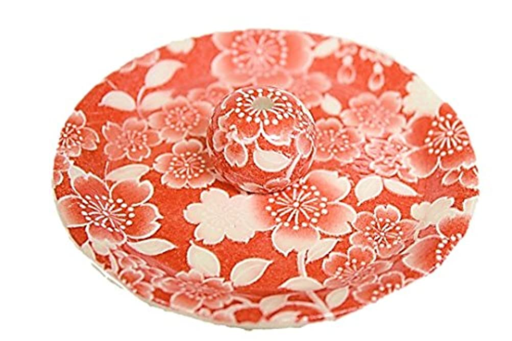 ニッケル週末ファッション9-27 桜友禅 赤 9cm香皿 お香立て お香たて 陶器 日本製 製造 直売