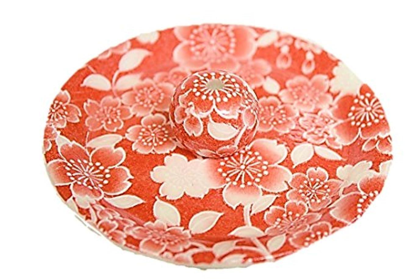 行き当たりばったり菊ファイター9-27 桜友禅 赤 9cm香皿 お香立て お香たて 陶器 日本製 製造 直売
