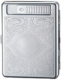 シガレットケース 付きUSB充電式 電子ライター 20本収納可 タバコケース ボックス (3)
