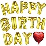 HAPPY BIRTHDAY バルーン 誕生日 風船 ハート付き バースデーパーティ に (ゴールド)